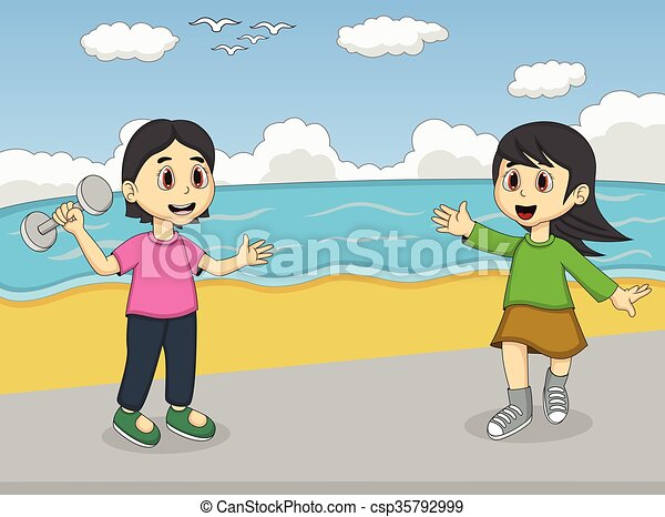 Children playing on the beach - csp35792999