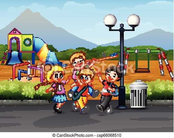 Children playing on the road with playground background - csp66068510
