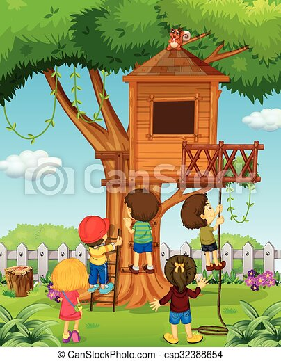 Children playing on the treehouse - csp32388654
