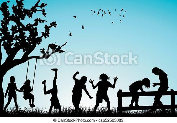 Children playing outdoor - csp52505083