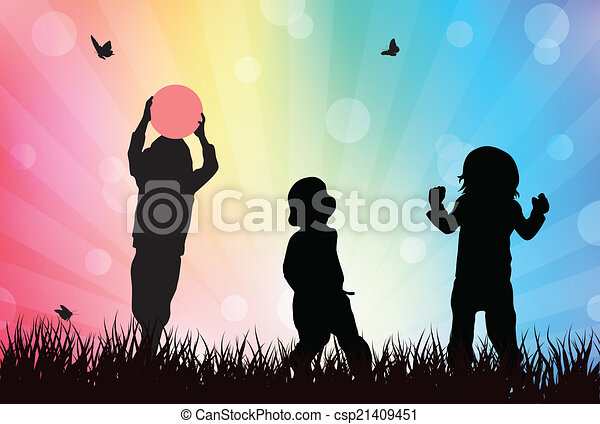 Children playing outdoors - csp21409451