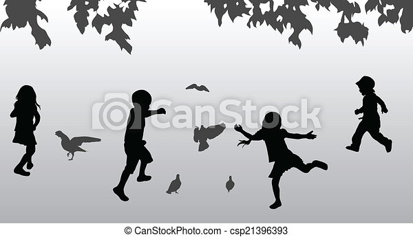 Children playing outdoors - csp21396393