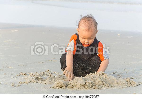Children playing sand - csp19477057