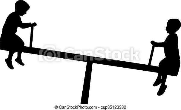 children playing, seesaw, silhouett - csp35123332