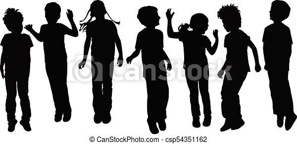 children playing, silhouette - csp54351162