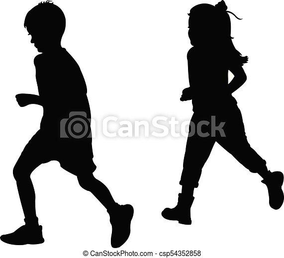 children playing, silhouette - csp54352858