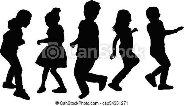 children playing, silhouette - csp54351271