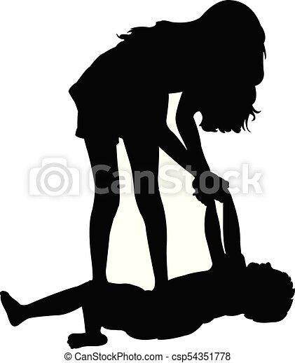 children playing, silhouette - csp54351778