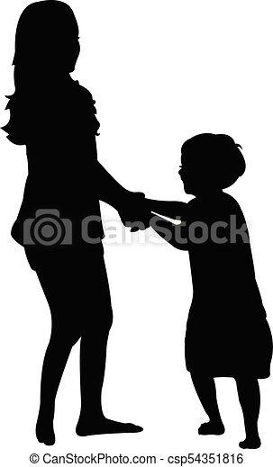 children playing, silhouette - csp54351816