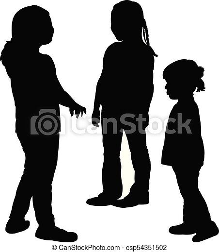 children playing, silhouette - csp54351502