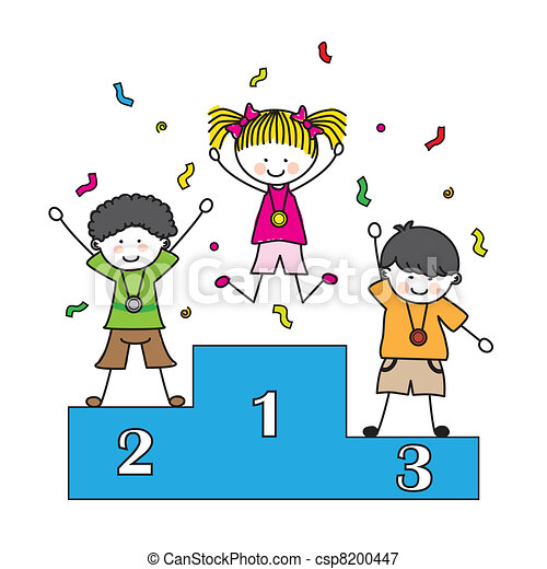 children playing sports medal on the podium rh canstockphoto com Basketball Clip Art Cowboy Clip Art