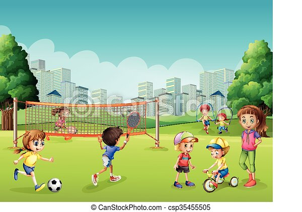 Children playing sports in the park - csp35455505