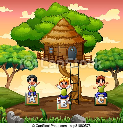 Children playing under the treehouse - csp81880576