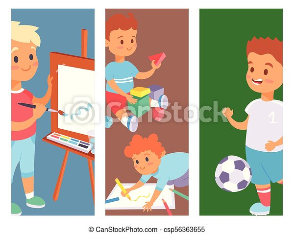 Why Are Kids Different At Home And At >> Children Playing Vector Banner Different Types Of Home Games Little Kids Play Summer Outdoor Active Leisure Childhood Activity