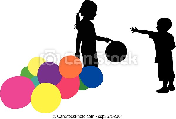 children playing with balls - csp35752064