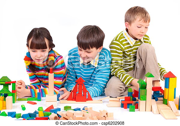 Children playing with blocks - csp6202908