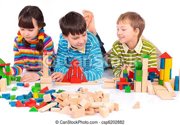 Children playing with blocks - csp6202882