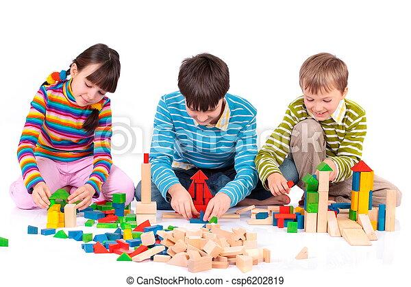 Children playing with blocks - csp6202819