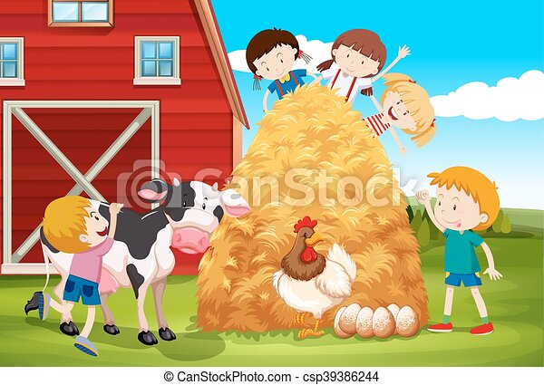 Children playing with farm animals in farm - csp39386244