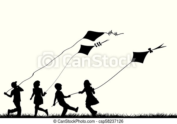 Children playing with kites - csp58237126