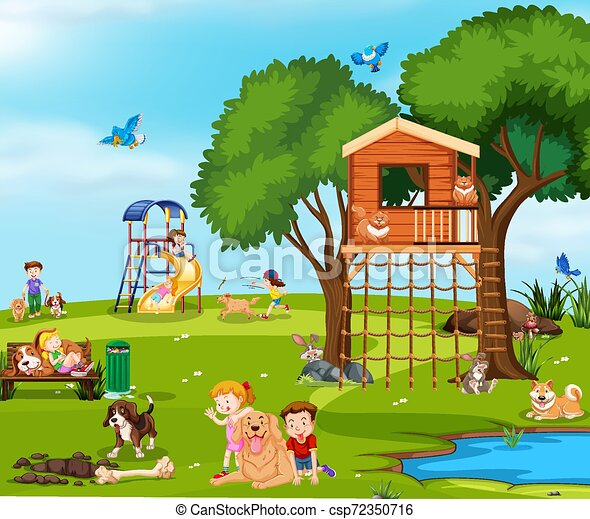 Children playing with pets in the park - csp72350716