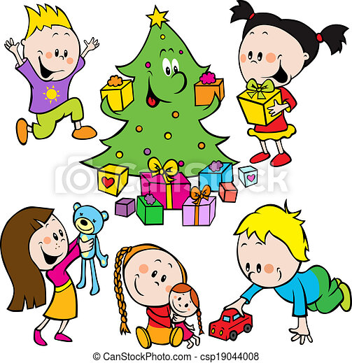 Children Playing With Toys And Christmas Tree Handing Out Gifts