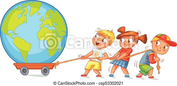 Children pulling wagon with a globe - csp53302021