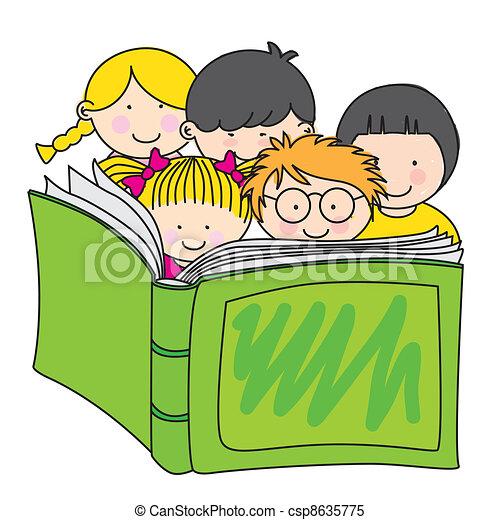 children reading a book - csp8635775