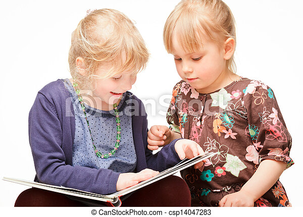 Children reading a book - csp14047283
