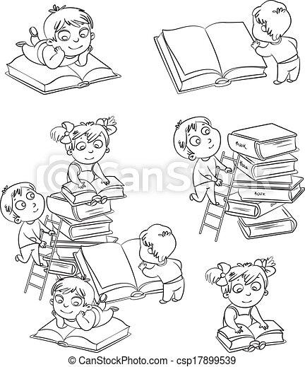 Children reading books - csp17899539