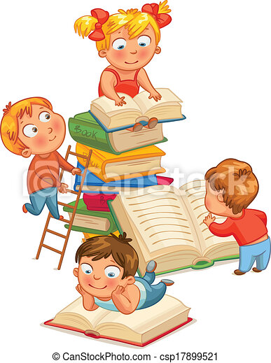 Children reading books - csp17899521