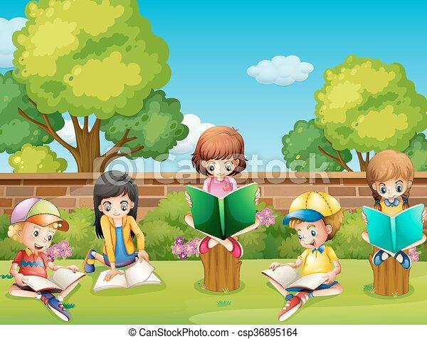 children garden. children reading books in the garden illustration