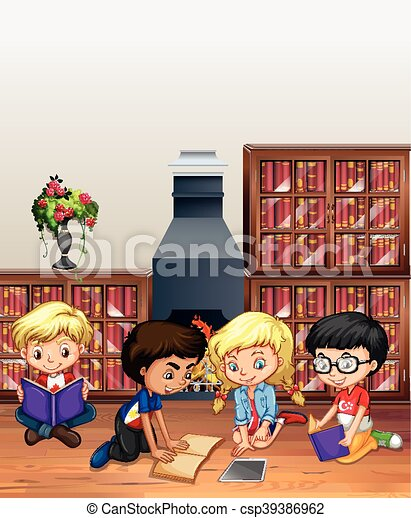 Children reading books in the library - csp39386962