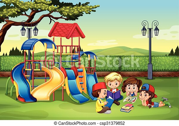 children reading in the park illustration clipart vector search rh canstockphoto com park clipart picture park clipart picture