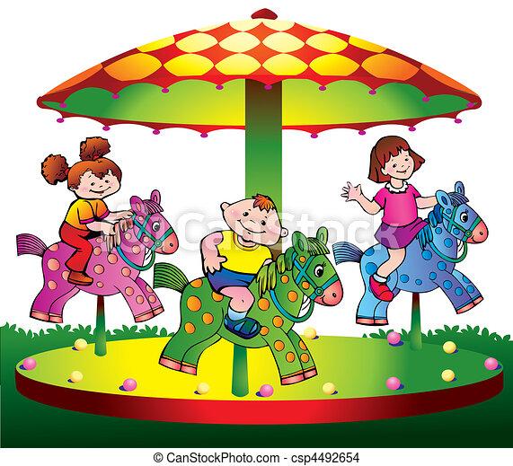 Children ride on the carousel. - csp4492654