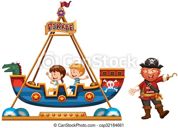 Children riding on viking ride with pirate illustration.