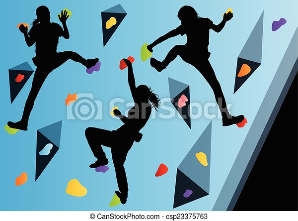 Children rock climber sport athletes climbing wall in abstract s - csp23375763