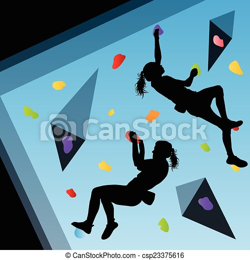 Children rock climber sport athletes climbing wall in abstract silhouettes background - Prise escalade enfant ...