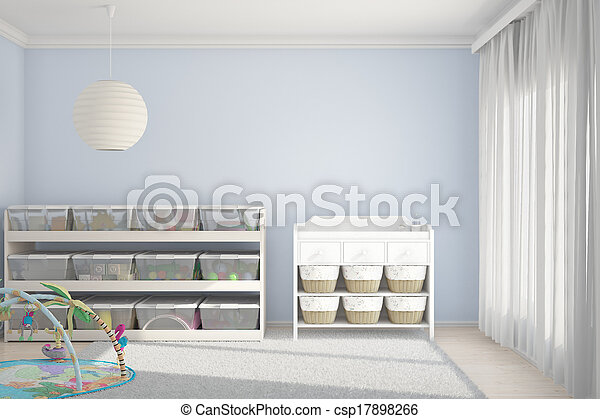 Children room with toys blue - csp17898266
