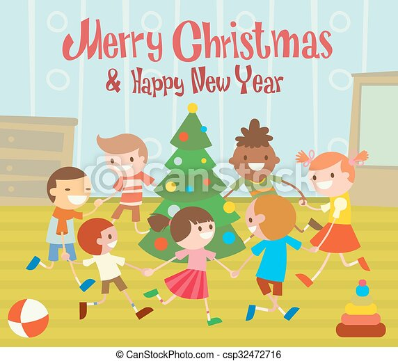 Children Round Dancing Christmas Tree In Baby Club Illustration Childhood Cartoon Fun And Christmas Party Kids Dance