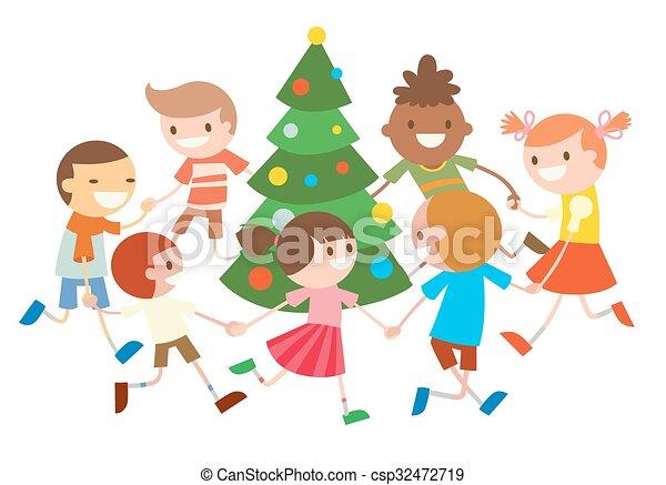 Christmas Dancing Cartoon.Children Round Dancing Christmas Tree In Baby Club Illustration