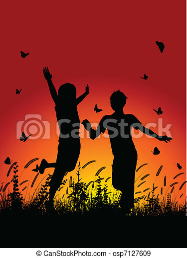Children running outside - csp7127609