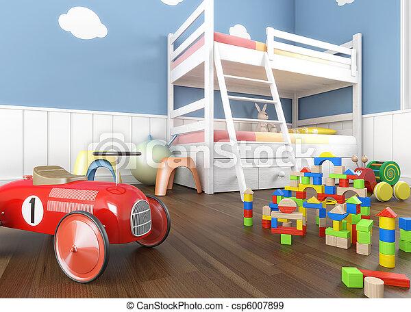 children´s, cima, sala, fim, brinquedos - csp6007899