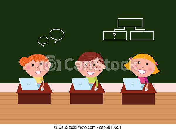 Children & school: Cute happy kids in classroom using Laptop  - csp6010651