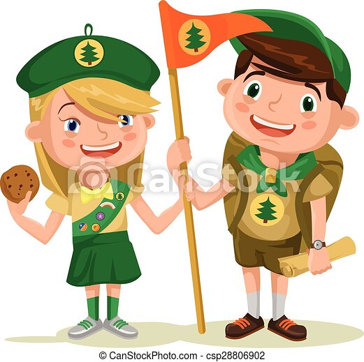 children scouts vector flat illustration rh canstockphoto com scout clipart black and white boy scout clipart