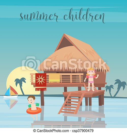 Girl And Boy In The Beach Bungalows Vector Illustration