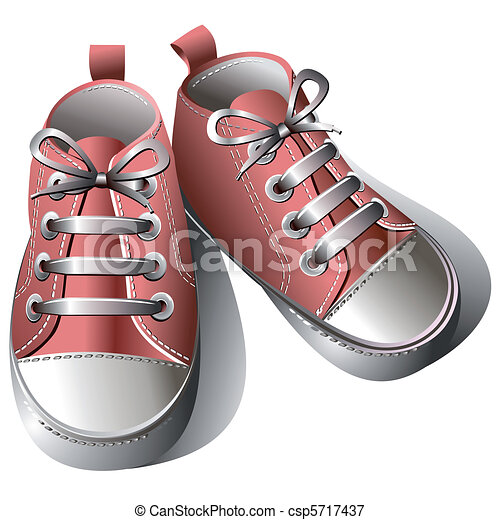 Children shoes. Pink children's shoes isolated on a white ...