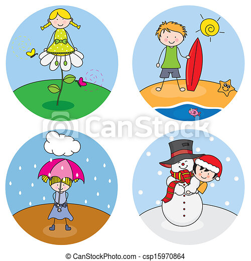 children showing the four seasons clip art vector search drawings rh canstockphoto ie seasons clipart seasons clipart