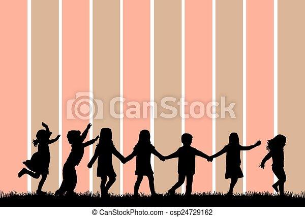 children silhouette - csp24729162