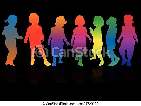 children silhouette - csp24729032